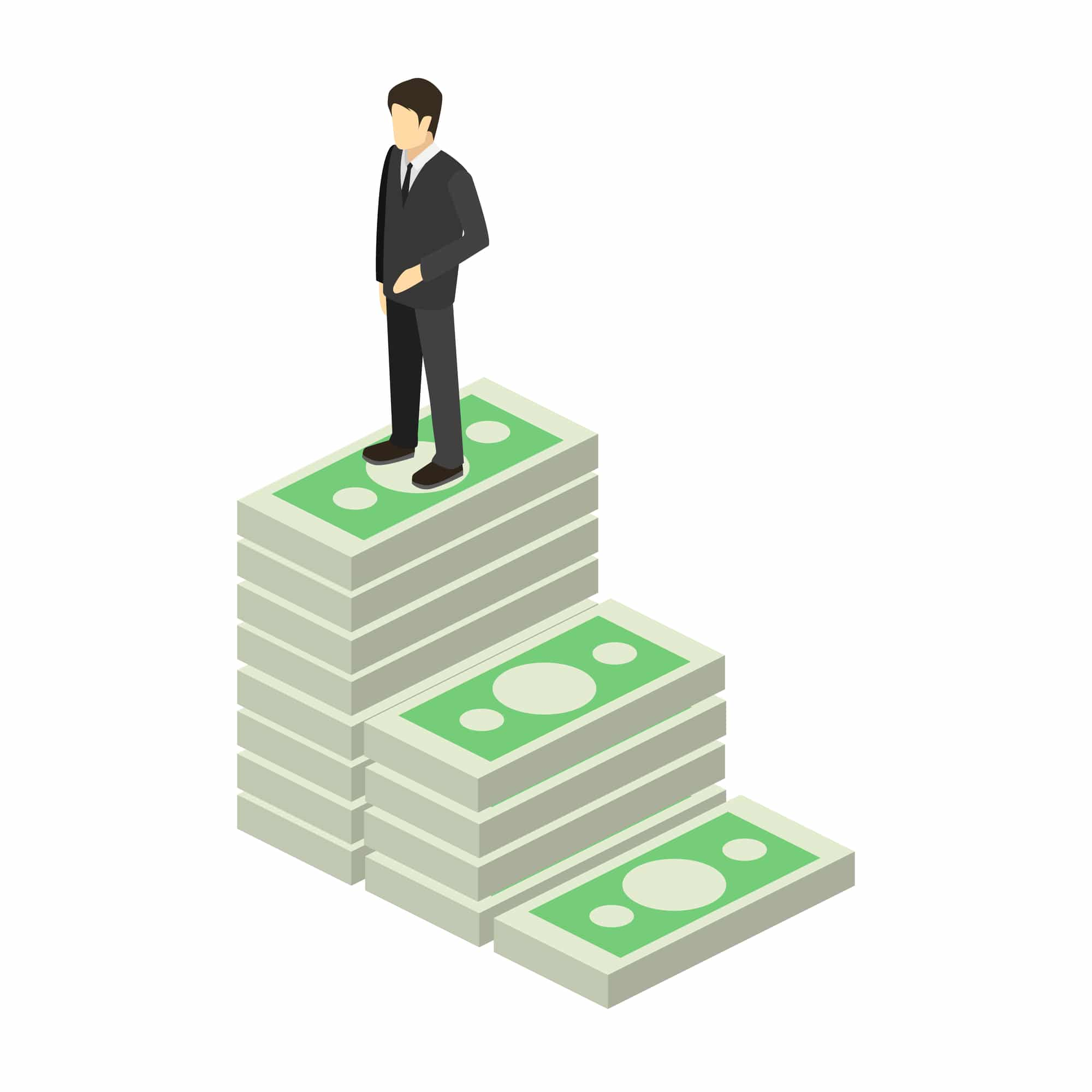illustration of man standing on staircase made of money