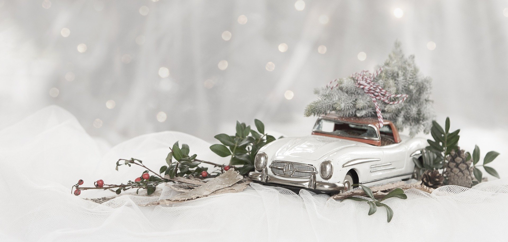 white model car in snowy winter scene